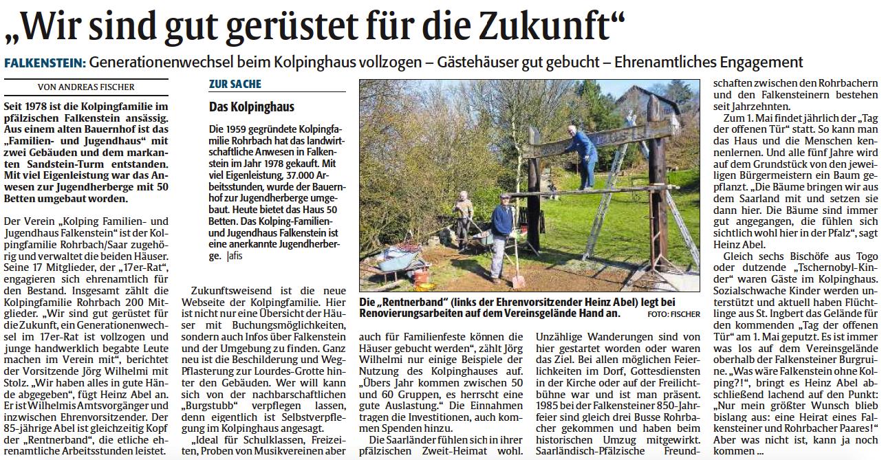 Zeitungsbericht in der Rheinpfalz | Kolpingfamilie Rohrbach